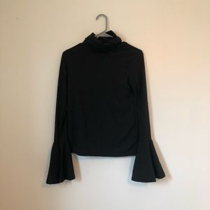 ribbed flare sleeve black turtleneck